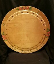 "Vintage G H SPECIALTIES Rare Wood Cake Plate ""Happy Birthday to You"""
