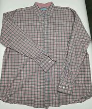 Mens J. MCLAUGHLIN Large Gray Red Plaid Checkered Long Sleeve Dress Shirt EUC