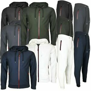 Mens Tracksuit Set Hoodie Top Bottoms Jogging Zip Joggers Gym Sport Summer Suit