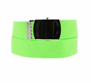 Unisex Neon Green Novelty Fancy Dress Canvas Belt Adjustable One Size New