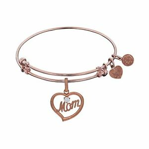Brass with Pink Finish Mom in Heart with Clear Cubic Zirconia Charm for Angelica