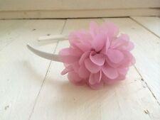 Ivory Satin Alice Hairband Headband  Dusky Pink Flower  Bridesmaid Flower Girl