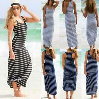 UK Womens Boho Sleeveless Striped Bodycon Sundress Ladies Summer Long Maxi Dress