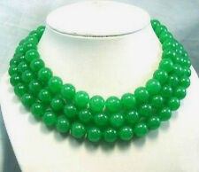 """Long 50"""" 12MM Natural Green chalcedony Gems Round Beads Hand Knotted Necklace"""