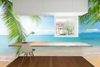 3D Palm and Tropical Beach Seascape Self-adhesive Bedroom Wall Murals Wallpaper
