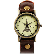 Vintage Paris Tower Leather Strap Lady Girl Women Quartz Wrist Watch Bracelet