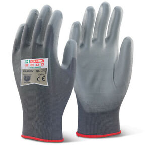 10 Pairs - Click 2000 PU Coated Gloves - PUGGY Grey Sizes M L & XL