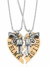 "THELMA and LOUISE Goldtone Split Heart Pendant NECKLACE Set W/ 20"" Chains"