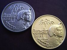 1980 Cleopatra Brushed Aluminum+Brushed Gold 10g HR Mardi Gras Doubloons