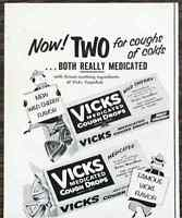 1953 PRINT AD Vicks Medicated Cough Drops Now Two Flavors Original n Wild Cherry