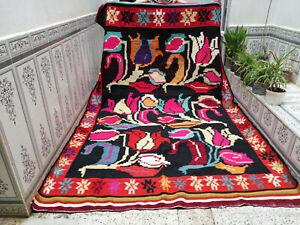 Handmade Vintage Wool Rug Moroccan Azilal Berber Rug Beni ourain Carpet 6 x 10