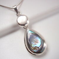 Reversible Abalone and Mother of Pearl 925 Sterling Silver Pendant m15g