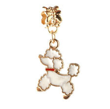 2pcs 18K gilded dog LAMPWORK fit European Charm Bracelet pendant Chain DIY A#118
