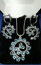 """❤JAYNES GEMS  8CT  SKY BLUE TOPAZ  PENDENT& EAR RINGS 14CT W GOLD/ 925 CHAIN 20"""""""