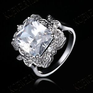 Cushion/Radiant White Topaz Cubic Zirconia Engagement 925 Sterling Sliver Ring