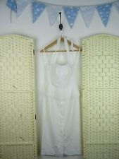 VINTAGE white polyester lined textured halter neck glam pleated peplum dress S