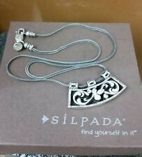 Silpada N1472 Sterling Silver Curved Floral Slide Pendant Wheat Chain Necklace