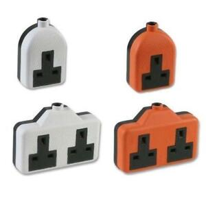 13AMP RUBBER SOCKET WHITE ORANGE SINGLE DOUBLE TWIN MAINS EXTENSION LEAD END
