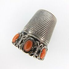 More details for antique 800 silver & coral thimble sewing etui real coral 800 silver thimble