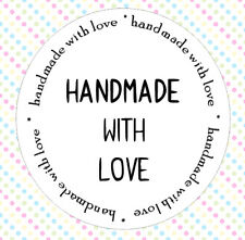 30 Handmade With Love Stickers Round Circle Kiss Cut Purchase Labels Tags AC2