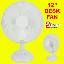 """12"""" 3 SPEED OSCILLATING FREE-STANDING COOLING DESK TABLE FAN NEW Good Quality"""