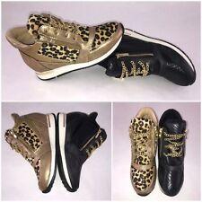 Stylische HIDDEN WEDGE Keil Sneakers mit goldenen Kettchen LEO od. SCHWARZ