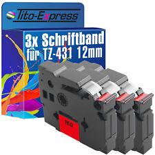 3x Schriftband für Brother TZe-431 P-Touch 1000 1000 BTS 1000 F 1005 BTS 1005 F