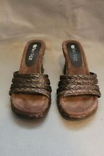 "Two Lips Phionna Wedge 3"" Heel Sandal Slide 7 7M Bronze Braided Rope USED EX"