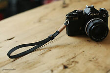 Khaki  top 11mm dark Handmade Leather camera wrist strap Generic Rangefinder