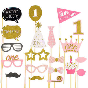 20x Photo Booth Props Baby Shower Pink Girl 1st First Birthday Party Decoration