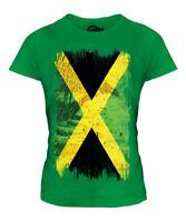 JAMAICA GRUNGE FLAG LADIES T-SHIRT TEE TOP JAMAICAN SHIRT FOOTBALL JERSEY GIFT
