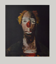 Joseph Kutter Kunstdruck Poster Bild Lichtdruck Clown mit Ziehharmonika 76x63 cm