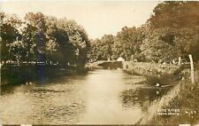 Oregon-Rochelle IL Kyte River~Tents & Campers~Sepia Real Photo Postcard c1913