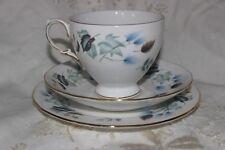 Vintage Colclough  English Chine Trio Tea Cup soucoupe plate Blue Leaf