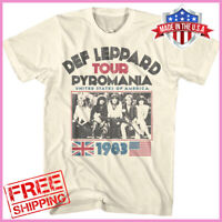 Def Leppard Men's T-shirt Pyromania USA Tour 1983 Rock Band Concert Merch S-6XL