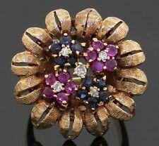 Vintage heavy 14K gold 1.15CTW diamond/sapphire cluster flower cocktail ring