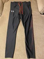 Men's Under Armour Black Orange Compression Pants Running Tights Large L