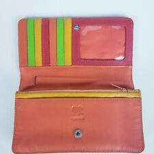 mywalit multicolor red orange jamaica full wallet card holder coin ID window