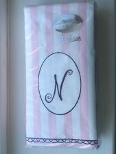"Design Pink Striped Monogram ""N"" Hankies Disposable Purse Facial Tissues Germany"