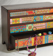 ❤️Hand Painted Wooden Trinket Chest 4 Flat Drawers, Mango Wood Fair Trade Indian
