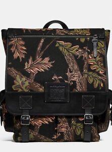 Coach 1941 Men Scout Backpack Oak Leaf Print 32573 Black Retail Piece BNWT