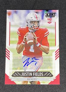2021 Panini Score Justin Fields Rookie Autograph Ohio State Buckeyes #302 RC