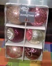 Christmas Tree Decorations LUXURY Baubles 6 in a pack 80MM NEW