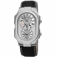 Philip Stein Men's Signature Silver Dial Leather Strap Dual Time Watch 2SILCSTB