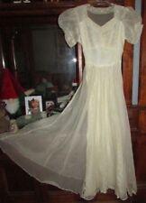 Vtg 1930-40's Tulle Netting Lace Sheer Puff Short Sleeves Wedding Bride Dress S