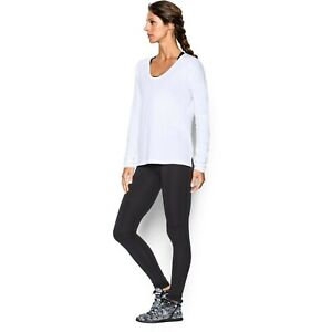 Under Armour Womens Favourite Drop Shoulder Long Sleeve Top - Large White