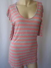 Ladies Peach/Grey Striped Exagerated Shoulder Scoop Neck Top UK 12 EU 40