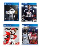 Lot 4 PS4 games - NBA 2K18, MLB The Show 18, Madden NFL 18 & NBA Live 18