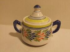 French Made Ceramic Sugar Jar w/Lid Henriot Quimper Pattern