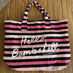 "Victoria's Secret  ""Hello, Bombshell"" tote Beach Bag Black Pink Striped EUC"